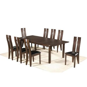 Michigan table + Alaska chairs- burn beech frame+p.u. seats