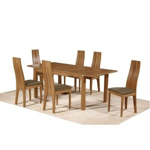 Nevada table + Nevada chairs- honey oak frame+golden honey fabric seats